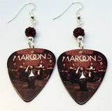 Maroon 5 Pure Imagination Guitar Pick Earrings with Red Pave Beads