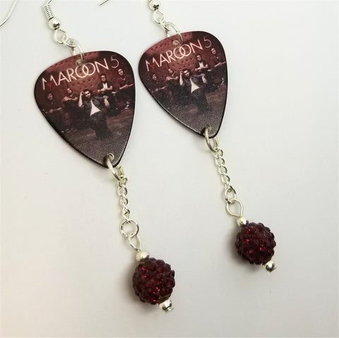 Maroon 5 Pure Imagination Guitar Pick Earrings with Red Pave Bead Dangles