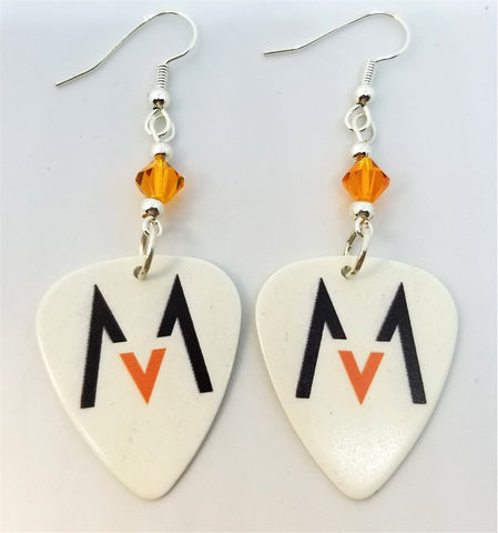 Maroon 5 Guitar Pick Earrings with Orange Swarovski Crystals