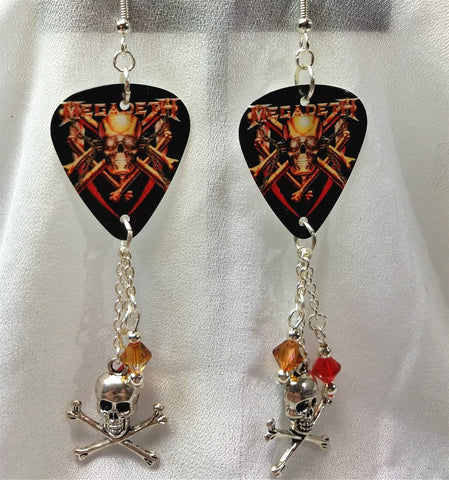 Megadeth Killing Is My Business Guitar Pick Earrings with Swarovski Crystal and Charm Dangles