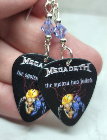 Megadeth The System Has Failed Guitar Pick Earrings with Violet Swarovski Crystals