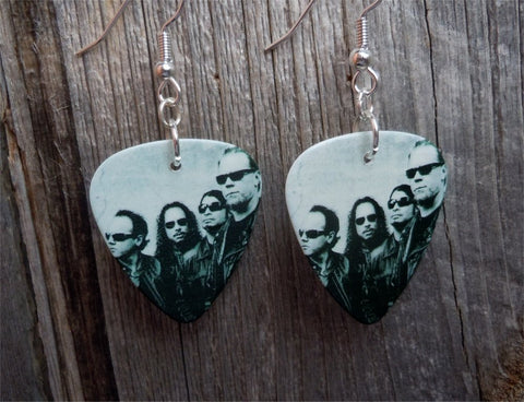 Metallica Group Picture Guitar Pick Earrings
