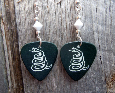 Metallica Black Album Guitar Pick Earrings with White Swarovski Crystals