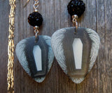 Metallica Death Magnetic Album Guitar Pick Earrings with Black Pave Beads