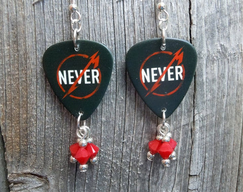 Metallica Through The Never Guitar Pick Earrings with Red Swarovski Crystal Dangles