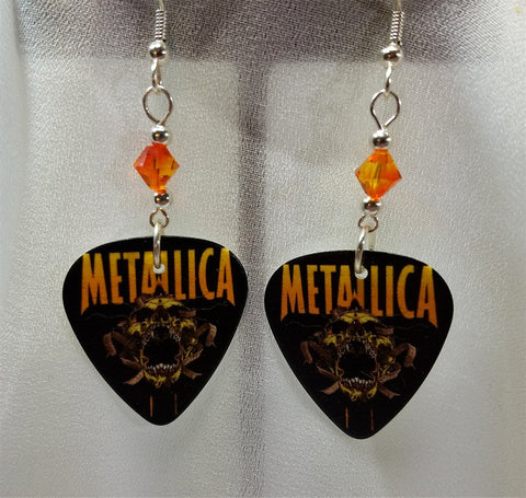 Metallica Screaming Skull Logo Guitar Pick Earrings with Fire Opal Swarovski Crystals