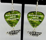Support Our Troops Camo Military Mom Guitar Pick Earrings