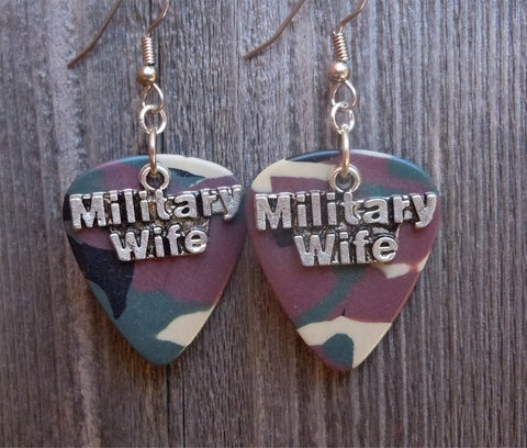 Military Wife Charm Guitar Pick Earrings