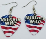 Military Wife Charm Guitar Pick Earrings - Pick Your Color