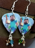 Minecraft Steve with a PickAxe Guitar Pick Earrings with Swarovski Crystal Dangles