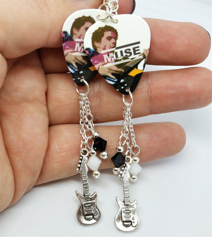 Matt Bellamy of Muse Guitar Pick Earrings with Charm and Swarovski Crystal Dangles