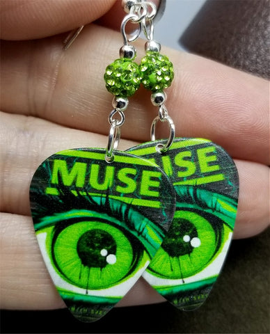 Muse Tour Poster Guitar Pick Earrings with Green Pave Beads