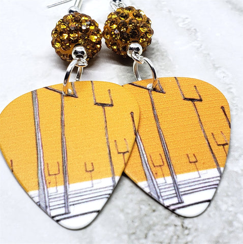 Muse Origin of Symmetry Guitar Pick Earrings with Orange Pave Bead Dangles