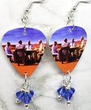 Muse Black Holes and Revelations Guitar Pick Earrings with Blue Swarovski Crystal Dangles