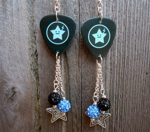 My Chemical Romance Star Guitar Pick Earrings with Dangles