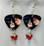 My Chemical Romance Three Cheers for Sweet Revenge Guitar Pick Earrings with Red Swarovski Crystal Dangles
