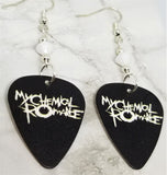 My Chemical Romance Black Guitar Pick Earrings with White Swarovski Crystals