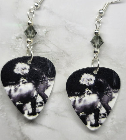 My Chemical Romance Gerard Way Guitar Pick Earrings with Gray Swarovski Crystals