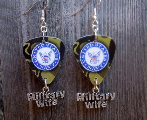 Navy Insignia Military Wife Guitar Pick Earrings