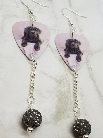 Neapolitan Mastiff Guitar Pick Earrings with Gray Pave Bead Dangles