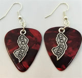 State of New Jersey Charm Guitar Pick Earrings - Pick Your Color