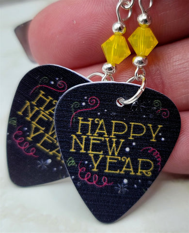 Happy New Year Guitar Pick Earrings with Yellow Opal Swarovski Crystals