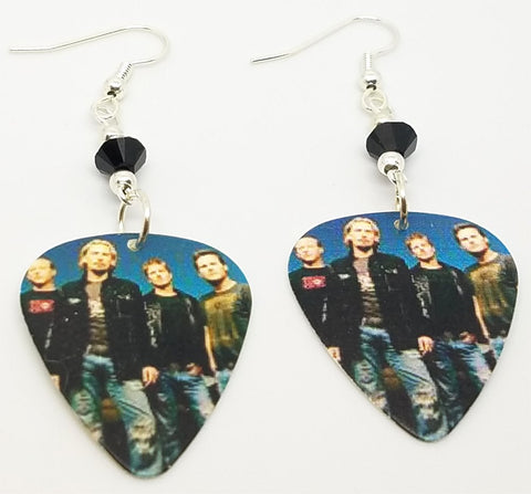 Nickelback Group Photo Guitar Pick Earrings with Black Swarovski Crystals