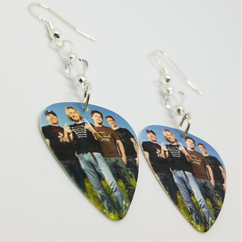 Nickelback Group Photo Guitar Pick Earrings with Clear Swarovski Crystals
