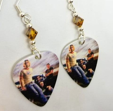 Nickelback Group Photo Guitar Pick Earrings with Brown Swarovski Crystals