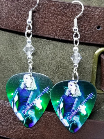Nickelback Chad Kroeger Guitar Pick Earrings with Clear Swarovski Crystals