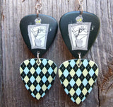 Jack Skellington and Argyle Double Guitar Pick Earrings