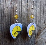 Iconic Jack Skellington Scene Guitar Pick Earrings with Yellow Crystals
