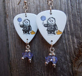 Trick or Treat Boy from A Nightmare Before Christmas Guitar Pick Earrings with Purple Swarovski Crystals
