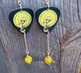 Jack Skellington Guitar Pick Earrings with Yellow Pave Bead Dangles