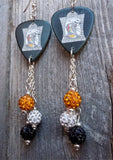 Jack Skellington and Sally Guitar Pick Earrings with Pave Bead Dangles