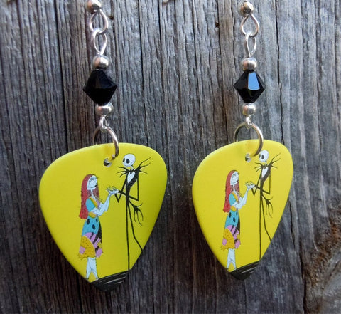 Jack Skellington and Sally The Nightmare Before Christmas Scene Guitar Pick Earrings with Black Crystals