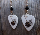 The Mayor from A Nightmare Before Christmas Guitar Pick Earrings with Black Swarovski Crystals