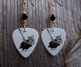 The Mayor from A Nightmare Before Christmas Guitar Pick Earrings with Black Crystals