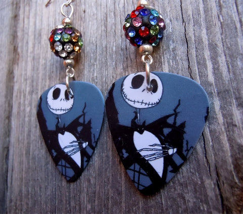 Jack Skellington The Nightmare Before Christmas Guitar Pick Earrings with MultiColor Pave Beads