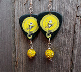 Jack Skellington Guitar Pick Earrings with Yellow Pave Beads