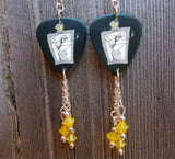 Jack Skellington on a Grave Guitar Pick Earrings with Yellow Opal Crystals