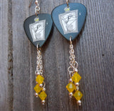 The Nightmare Before Christmas Jack Skellington on a Grave Guitar Pick Earrings with Yellow Opal Swarovski Crystal Dangles