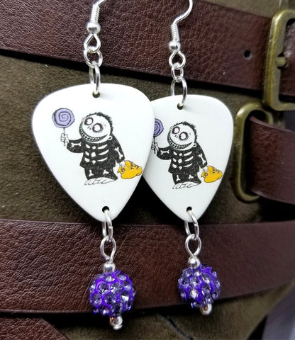 Trick or Treat Boy from A Nightmare Before Christmas Guitar Pick Earrings with Purple Pave Bead Dangles