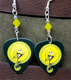 Jack Skellington The Nightmare Before Christmas Guitar Pick Earrings with Yellow Opal Swarovski Crystals