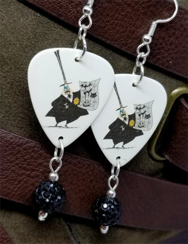The Mayor from The Nightmare Before Christmas Guitar Pick Earrings with Black Pave Bead Dangles