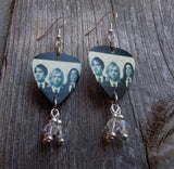Nirvana Group Picture Guitar Pick Earrings with Swarovski Crystal Dangles
