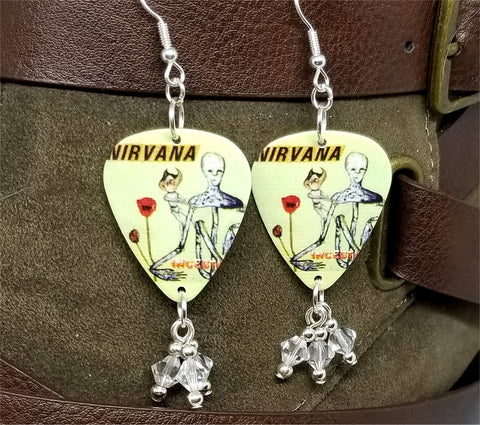 Nirvana Kurt Cobain Painting and Incesticide Album Cover Guitar Pick Earrings with Clear Swarovski Crystal Dangles