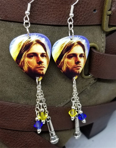 Kurt Cobain Close Up Guitar Pick Earrings with Microphone Charm and Swarovski Crystal Dangles