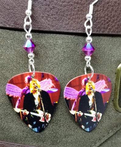 Kurt Cobain on Stage Guitar Pick Earrings With Fuchsia AB Swarovski Crystals