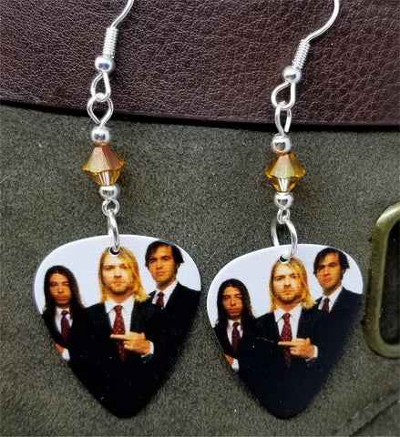 Nirvana Group Picture Kurt Cobain Giving the Finger Guitar Pick Earrings with Copper Crystal Swarovski Crystal Dangles